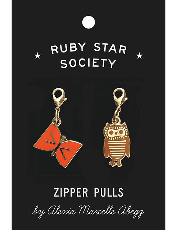 butterfly-and-owl-zipper-pulls-by-alexia-marcelle-abegg-for-ruby-star-society